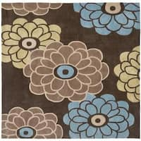 Safavieh Handmade Modern Art Daisies Brown/ Multicolored Polyester Rug - 7' x 7' Square
