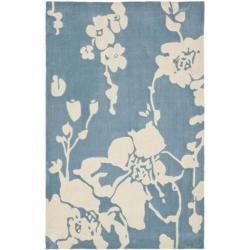 Safavieh Handmade Modern Art Summer Blue/ Ivory Polyester Rug (4' x 6')