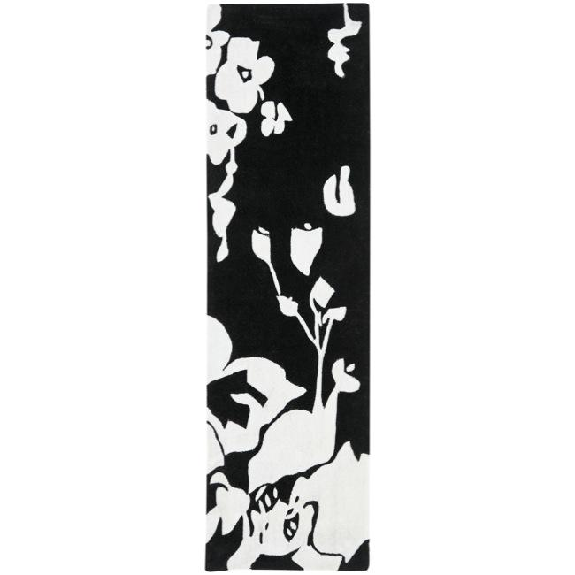 Safavieh Handmade Modern Art Midnight Black/ Ivory Polyester Rug (2'3 x 8')