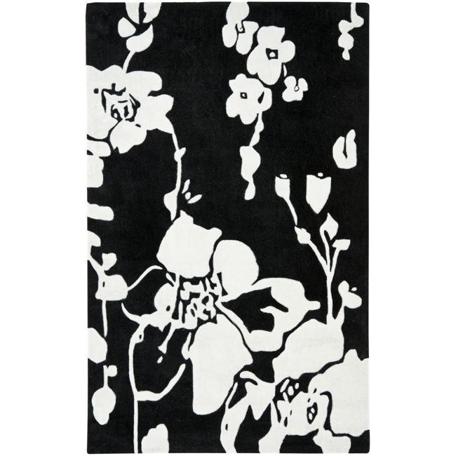 Safavieh Handmade Modern Art Midnight Black/ Ivory Polyester Rug (4' x 6')