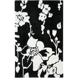 Safavieh Handmade Modern Art Midnight Black/ Ivory Polyester Rug (8' x 10')