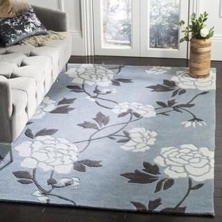 Safavieh Handmade Modern Art Harmony Floral Blue/ Ivory Polyester Rug (5' x 8')