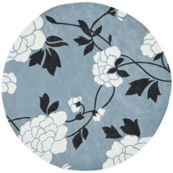 Safavieh Handmade Modern Art Harmony Floral Blue/ Ivory Polyester Rug (7' Round)