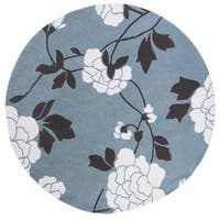 Safavieh Handmade Modern Art Harmony Floral Blue/ Ivory Polyester Rug - 7' x 7' Round