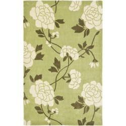 Safavieh Handmade Modern Art Harmony Floral Green/ Ivory Polyester Rug (8' x 10')