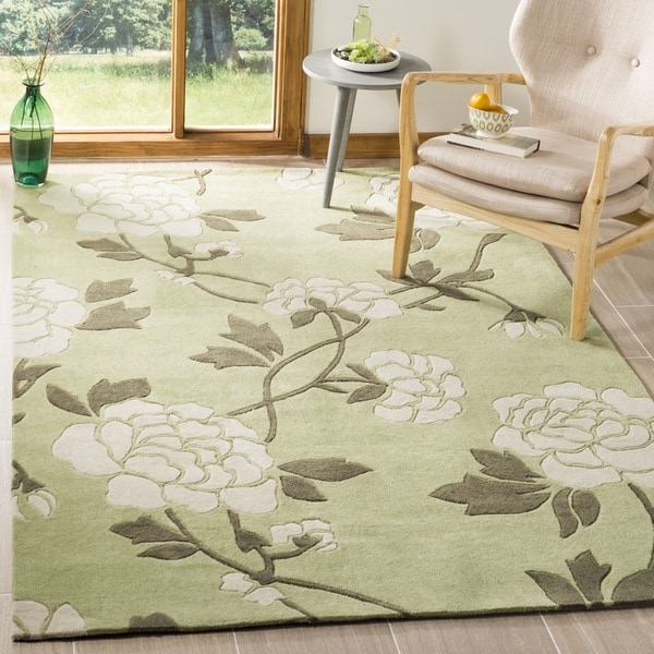 Safavieh Handmade Modern Art Harmony Floral Green/ Ivory Polyester Rug - 8' x 10'