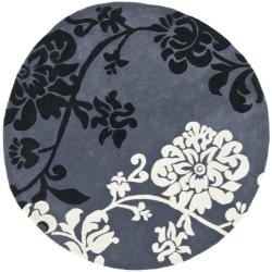 Safavieh Handmade Modern Art Floral Shadows Dark Grey/ Multi Polyester Rug (7' Round)