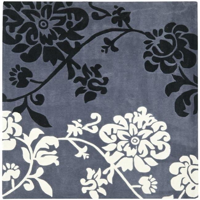 Safavieh Handmade Modern Art Floral Shadows Dark Grey/ Multi Polyester Rug (7' Square)