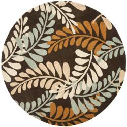 Safavieh Handmade Modern Art Ferns Brown/ Multicolored Polyester Rug (7' Round)