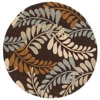 Safavieh Handmade Modern Art Ferns Brown/ Multicolored Polyester Rug - 7' x 7' Round