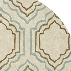 Safavieh Handmade Modern Art Moroccan Beige/ Multicolored Polyester Rug (7' Round) - Thumbnail 1