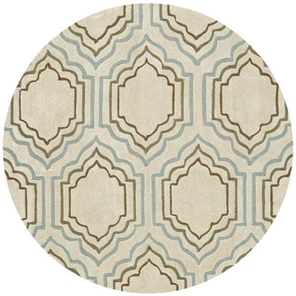 Safavieh Handmade Modern Art Moroccan Beige/ Multicolored Polyester Rug (7' Round)