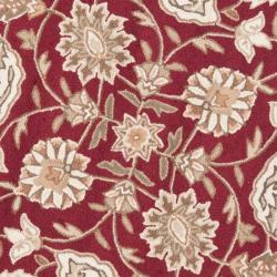 Safavieh Simply Clean Kerman Hand-hooked Red Rug (6' Round)