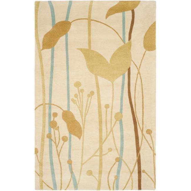 Safavieh Handmade New Zealand Wool Gardens Beige Rug (7'6 x 9'6)