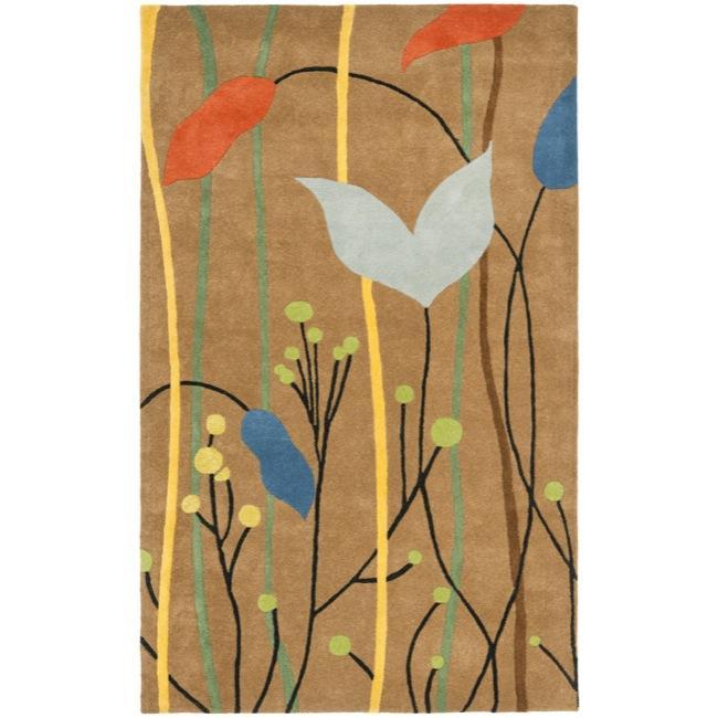 Safavieh Handmade New Zealand Wool Gardens Brown Rug (3'6 x 5'6')