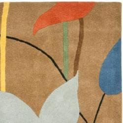 Safavieh Handmade New Zealand Wool Gardens Brown Rug (3'6 x 5'6') - Thumbnail 1