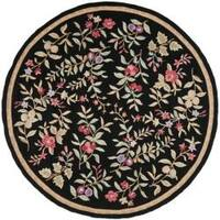 Safavieh Simply Clean Botanical Hand-hooked Black Rug - 8' x 8' Round