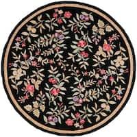 Safavieh Simply Clean Botanical Hand-hooked Black Rug - 8' x 8' Round