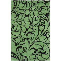 Safavieh Handmade New Zealand Wool Flow Teal Rug (3'6 x 5'6')