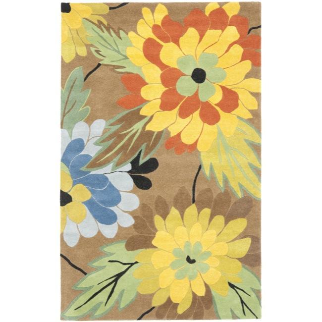 Safavieh Handmade New Zealand Wool Garden Brown Rug - 7'6 x 9'6
