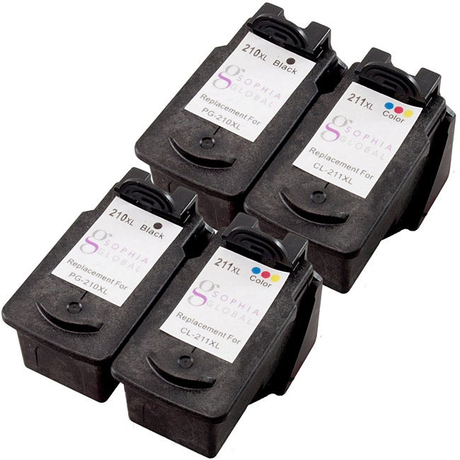 Sophia Global Canon PG-210Xl and CL-211XL Ink Cartridges (Pack of 4) (Remanufactured)