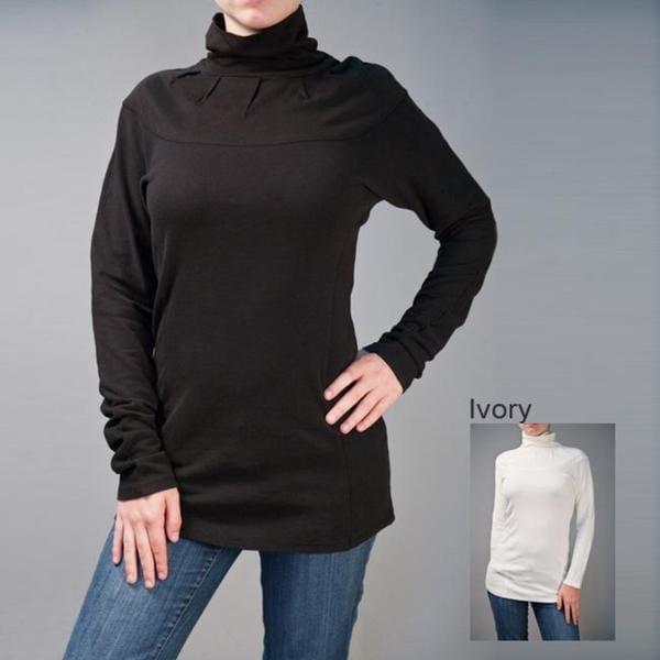 AtoZ Women's Cotton Ruched Turtleneck Top