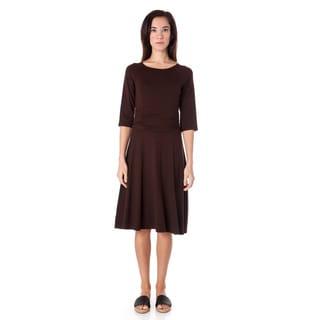 AtoZ Women's Ruched Waist 3/4-sleeve Dress