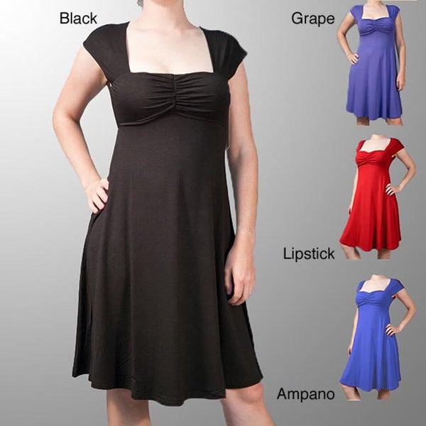 AtoZ Women's Empire-waist Ruched Dress