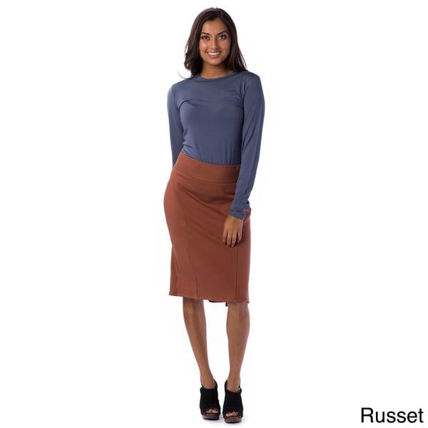 AtoZ Women's Kick-Pleat Pencil Skirt