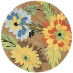 Safavieh Handmade New Zealand Wool Garden Brown Rug (6' Round) - 6' Round - Thumbnail 0