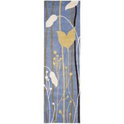 Safavieh Handmade New Zealand Wool Gardens Blue Rug (2'6 x 8')