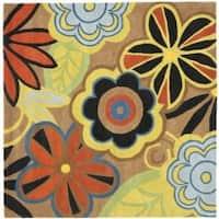 Safavieh Handmade New Zealand Wool Flower Power Brown Rug - 6' x 6' Square