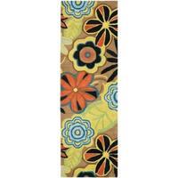 "Safavieh Handmade New Zealand Wool Flower Power Brown Rug - 2'6"" x 8'"