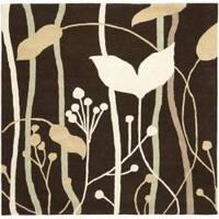 Safavieh Handmade New Zealand Wool Gardens Dark Brown Rug (6' Square) - 6'