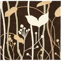 Safavieh Handmade New Zealand Wool Gardens Dark Brown Rug - 6' x 6' Square