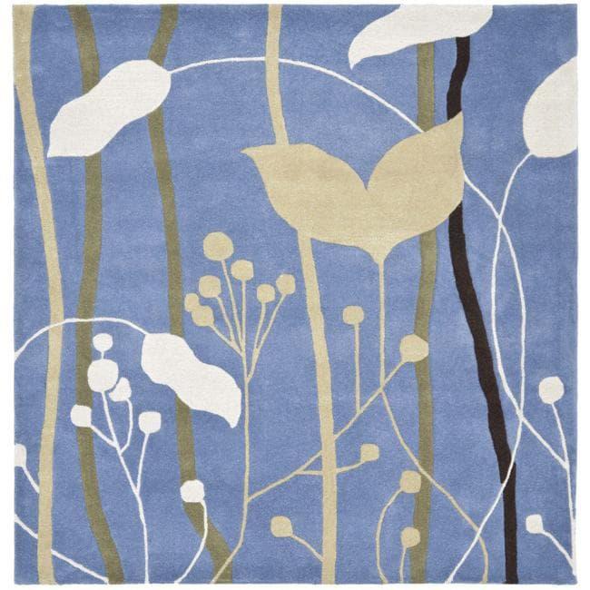 Safavieh Handmade New Zealand Wool Gardens Blue Rug (6' Square)