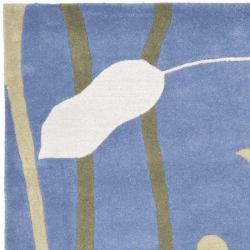 Safavieh Handmade New Zealand Wool Gardens Blue Rug (6' Square) - Thumbnail 1