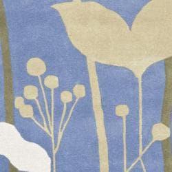 Safavieh Handmade New Zealand Wool Gardens Blue Rug (6' Square) - Thumbnail 2