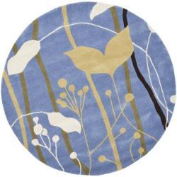 Safavieh Handmade New Zealand Wool Gardens Blue Rug (6' Round)
