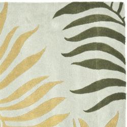 Safavieh Handmade New Zealand Wool Ferns Light Blue Rug (6' Square) - Thumbnail 1
