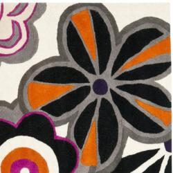 Safavieh Handmade New Zealand Wool Flower Power Ivory Rug (6' Square) - Thumbnail 1
