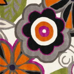 Safavieh Handmade New Zealand Wool Flower Power Ivory Rug (6' Square) - Thumbnail 2