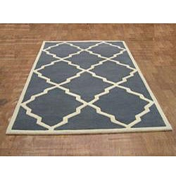Alliyah Handmade Bluish-Grey New Zealand Blend Wool Rug (10' x 12') - Thumbnail 1