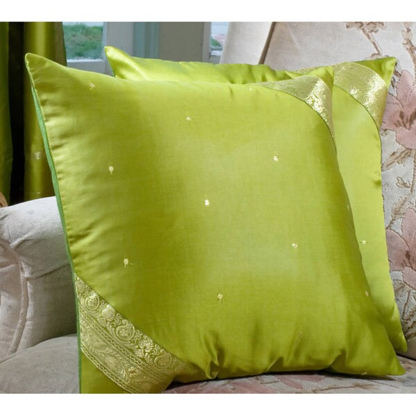 Set of Two Sari Fabric Decorative Pillow Covers Handmade in