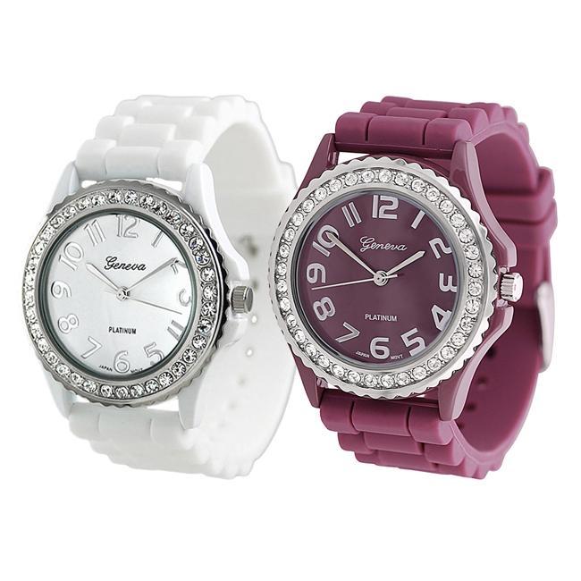Geneva Platinum Women's Rhinestone-Accented White/Plum Silicone Watch (Set of 2)
