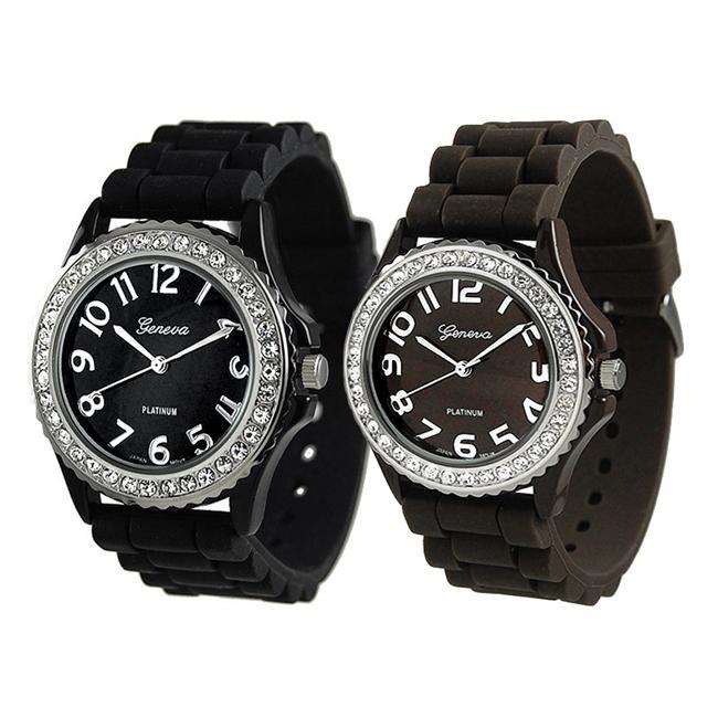 Geneva Platinum Women's Rhinestone-Accented Black Silicone Watch (Set of 2)