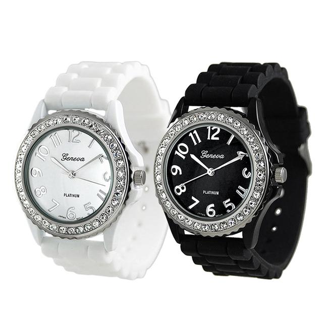 Geneva Platinum Women's Rhinestone-Accented Black/White Silicone Watch (Set of 2)