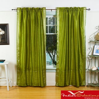 Handmade Olive Green Sheer Sari 84-inch Rod Pocket Curtain Panels (India)