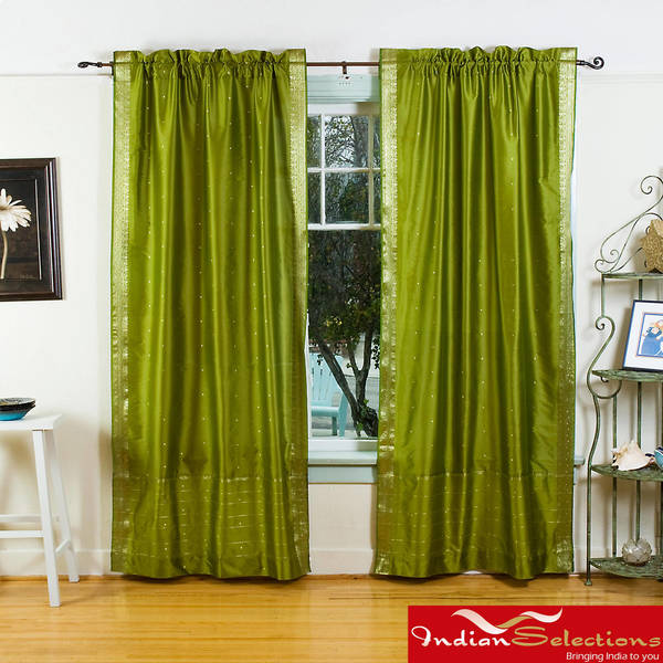 Handmade Olive Green Sheer Sari 84-inch Rod Pocket Curtain Panels (India)