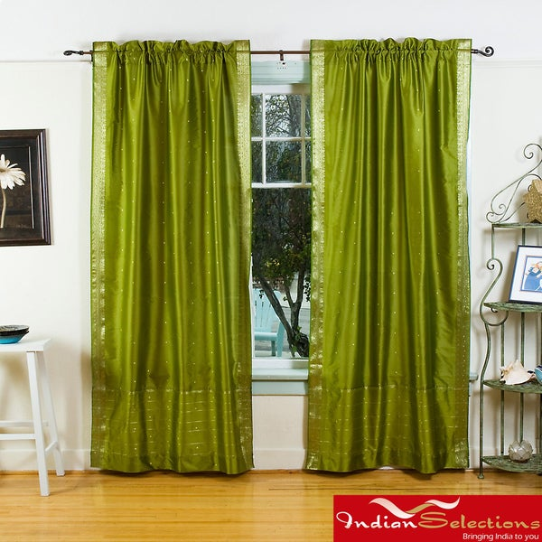 Handmade Olive Green Sheer Sari 84 Inch Rod Pocket Curtain Panels India Free Shipping Today